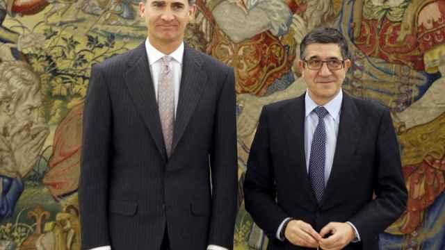 El Rey Felipe VI y el presidente del Congreso, Patxi López.
