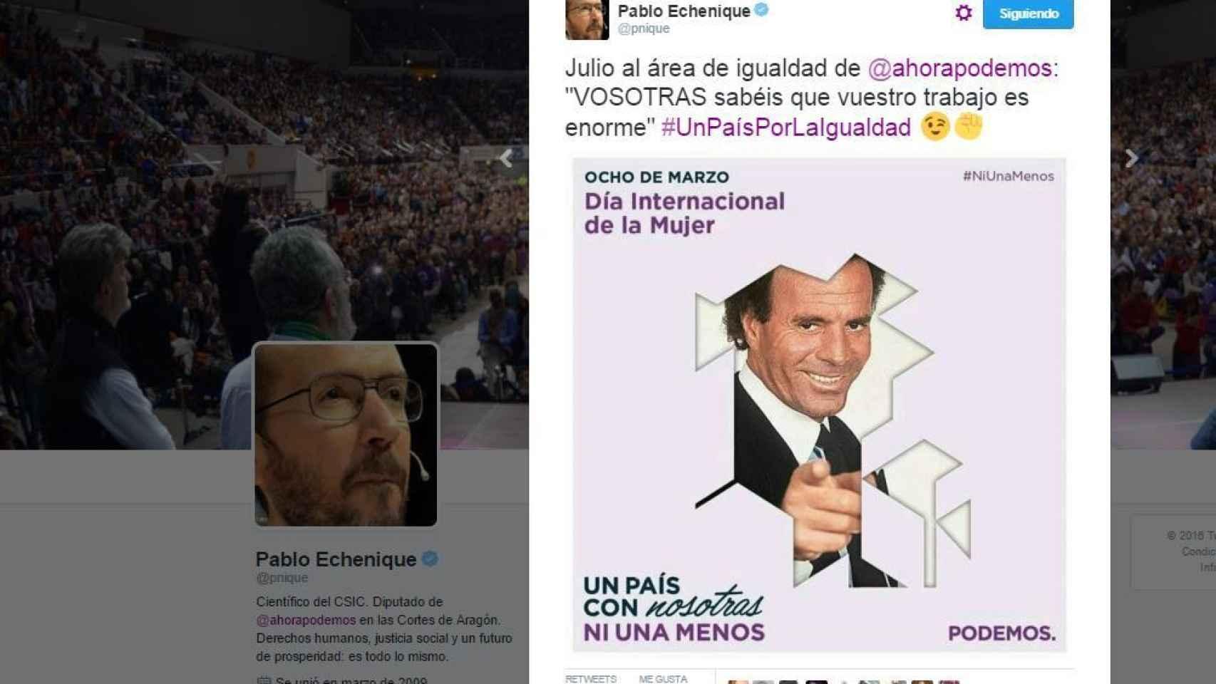 El tuit de Pablo Echenique en el que bromeó sobre la campaña usando a Julio Iglesias.