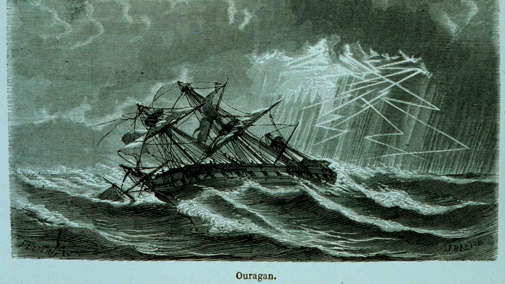 El Ouragan, un navío pesquero bajo un huracán (1869)