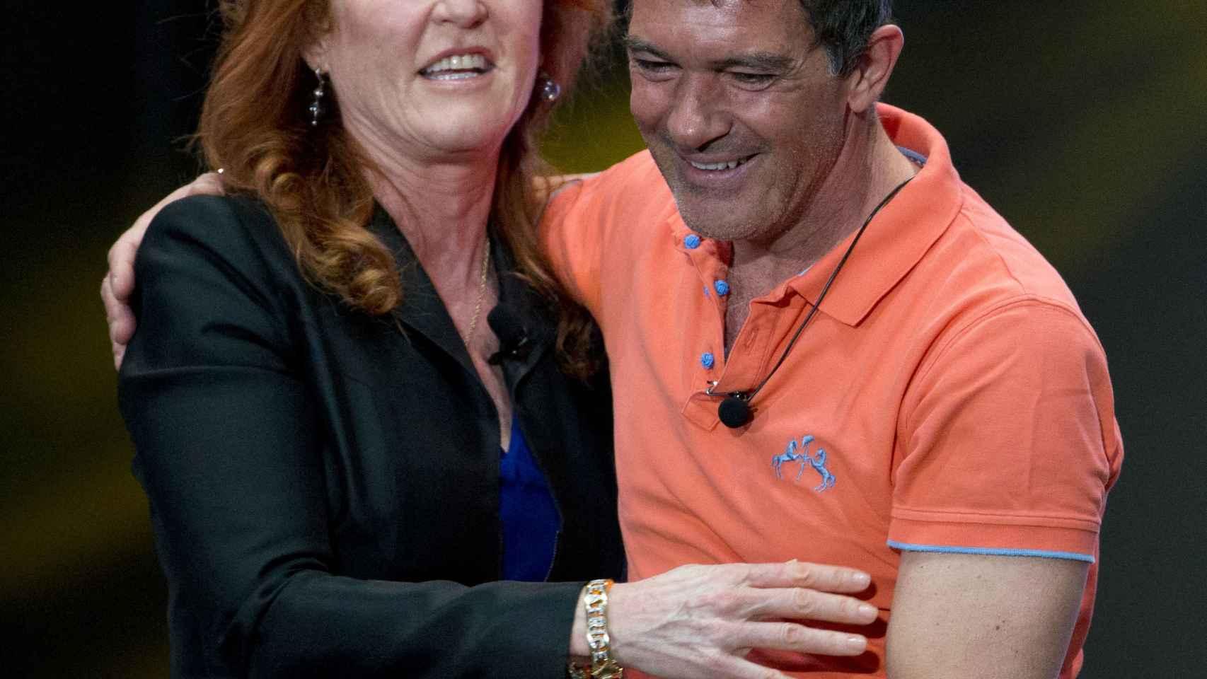 Sarah Ferguson y Antonio Banderas en la presentación de la Gala a los medios en México