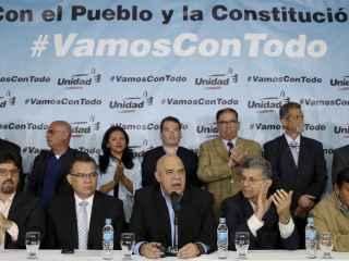 Torrealba, junto a otros líderes opositores durante la rueda de prensa