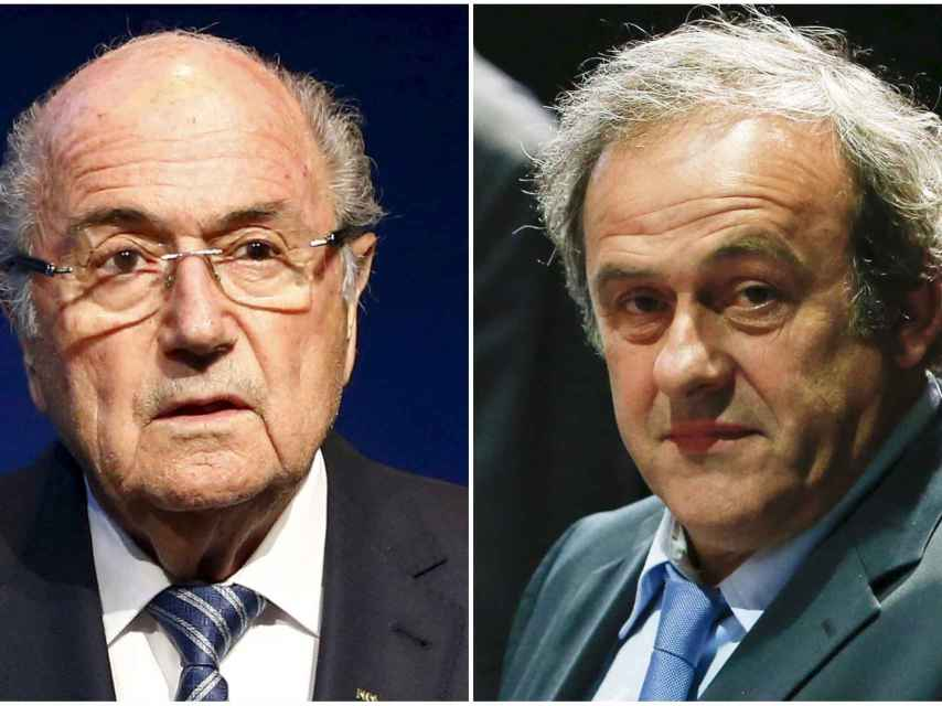 Platini y Joseph Blatter, ex presidente de la FIFA y la UEFA respectivamente.