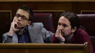 Iñigo Errejón y Pablo Iglesias en el Congreso.