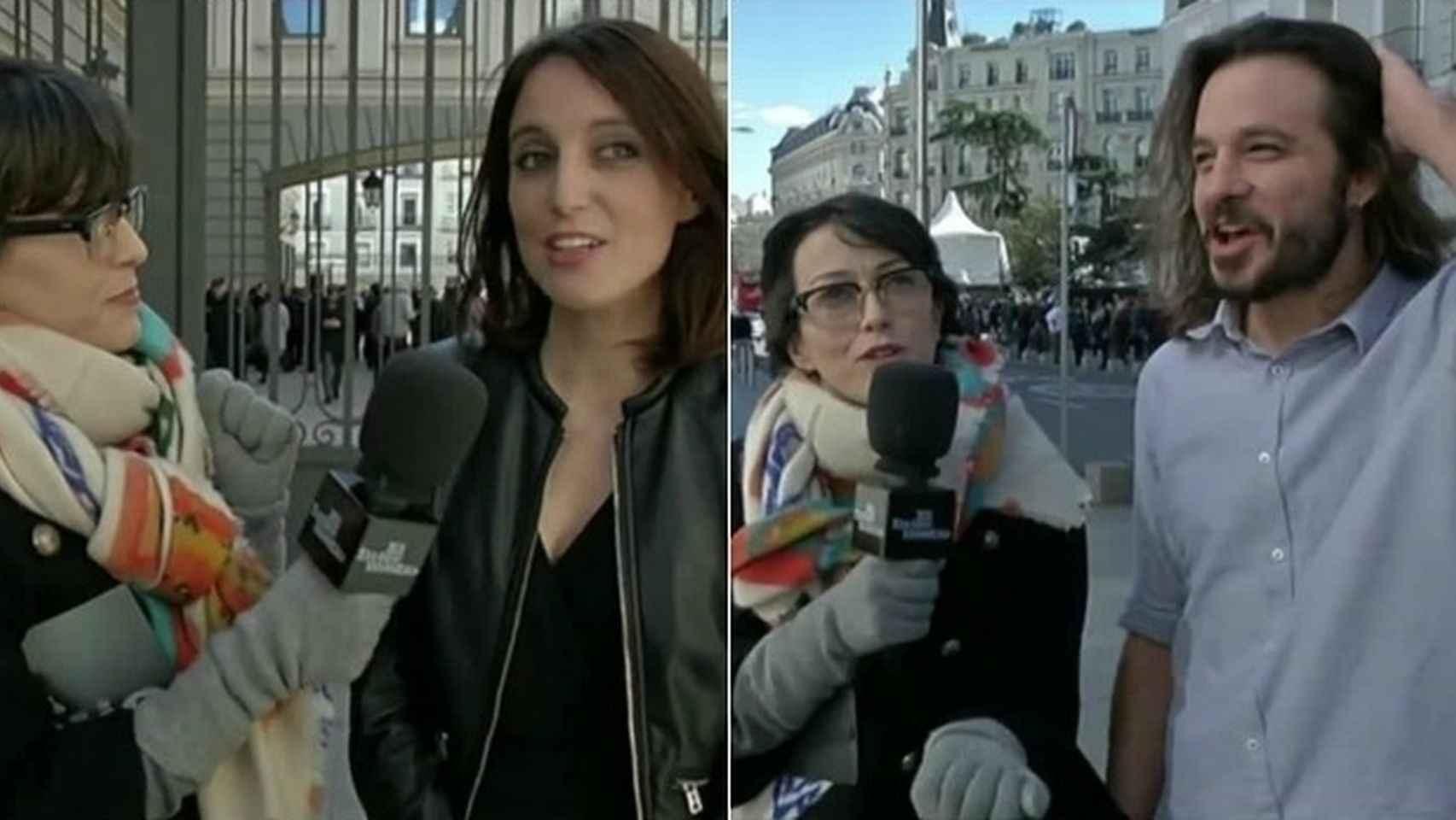 La reportera Thais Villa con Andrea Levy y Miguel Vila