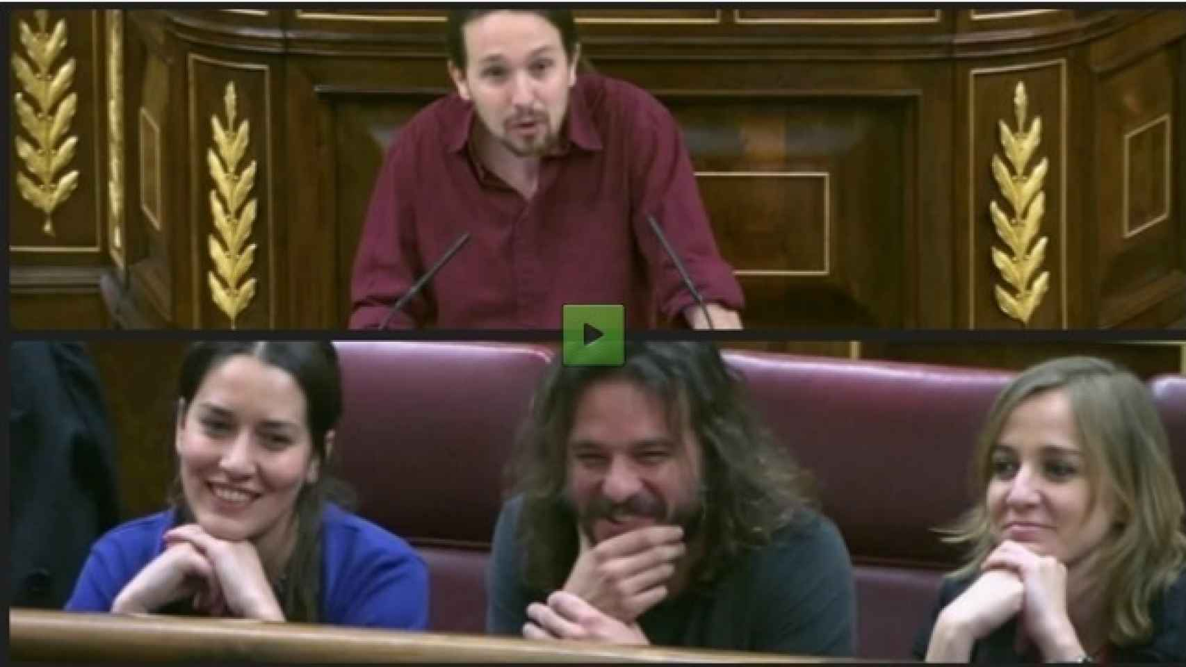 Sonrisas en la bancada de Podemos cuando Iglesias bromeó con el coqueteo