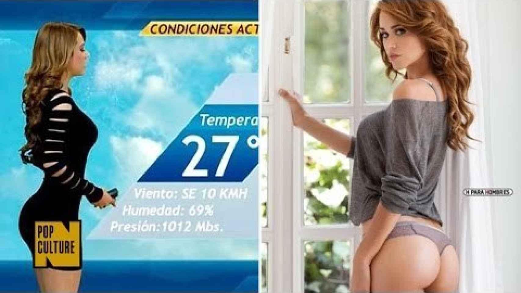 Yanet García presentado el tiempo y en una imagen de revista