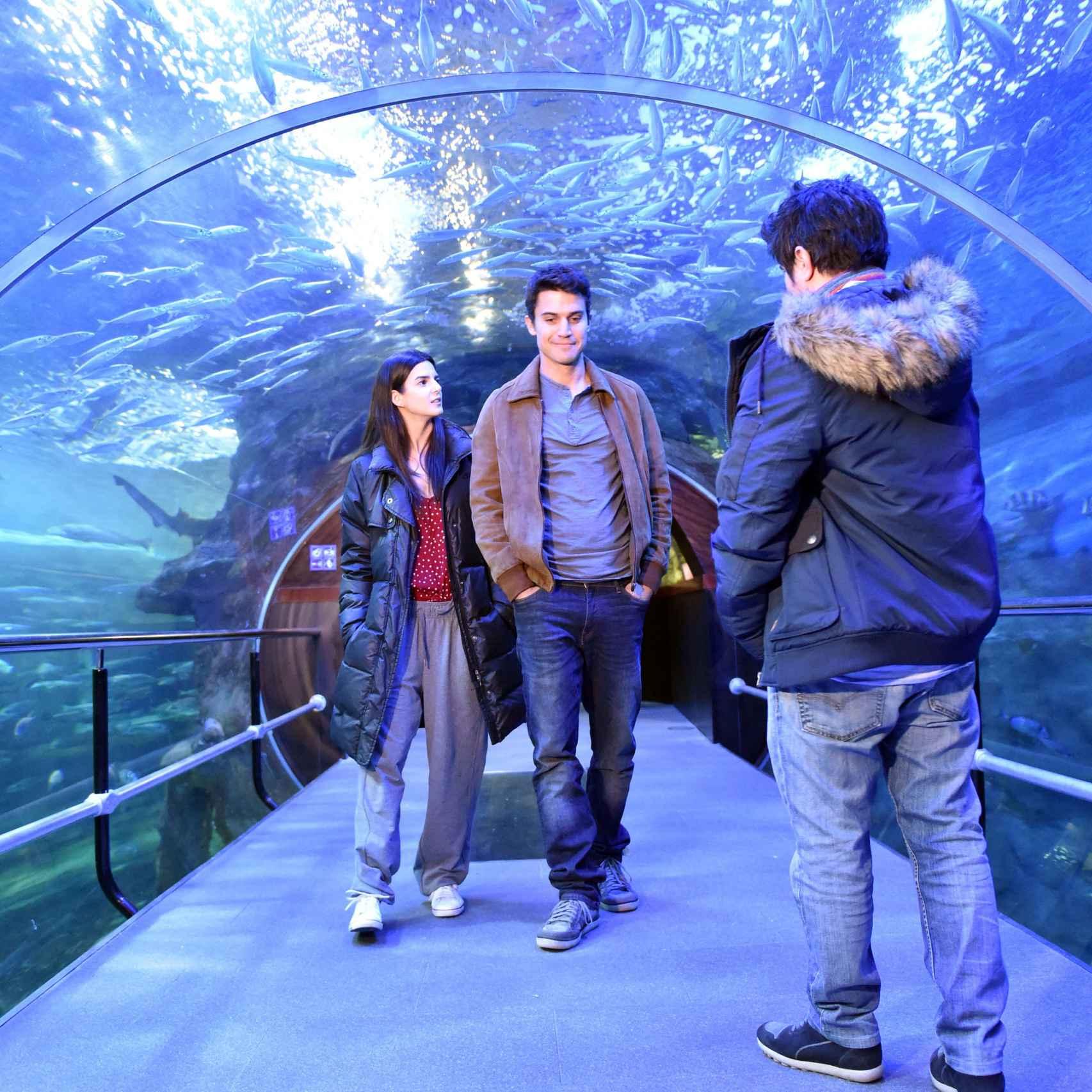 Clara Lago y Álex González en mitad del rodaje en el Aquarium de San Sebastián