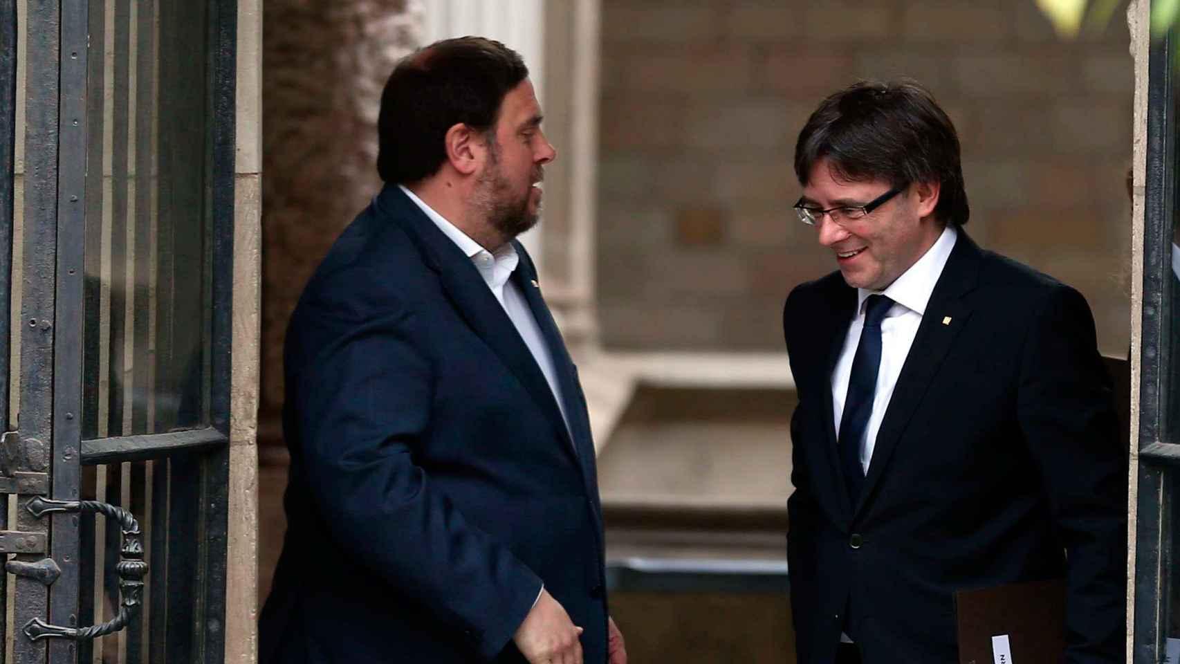 Puigdemont y Junqueras, en la Generalitat.