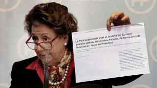 Rita Barberá durante la rueda de prensa en la sede del PP de Valencia