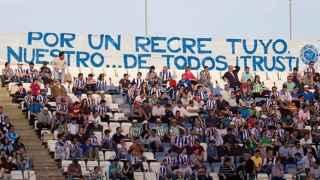Pancarta reivindicativa en el Nuevo Colombino.