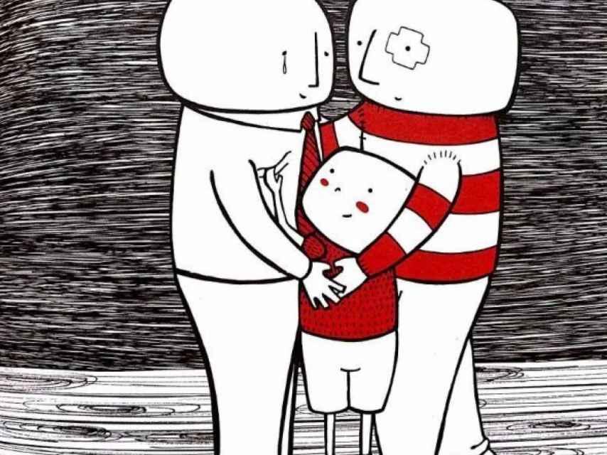 Ilustración de Mi papá es un payaso, un cuento sobre una familia homoparental.