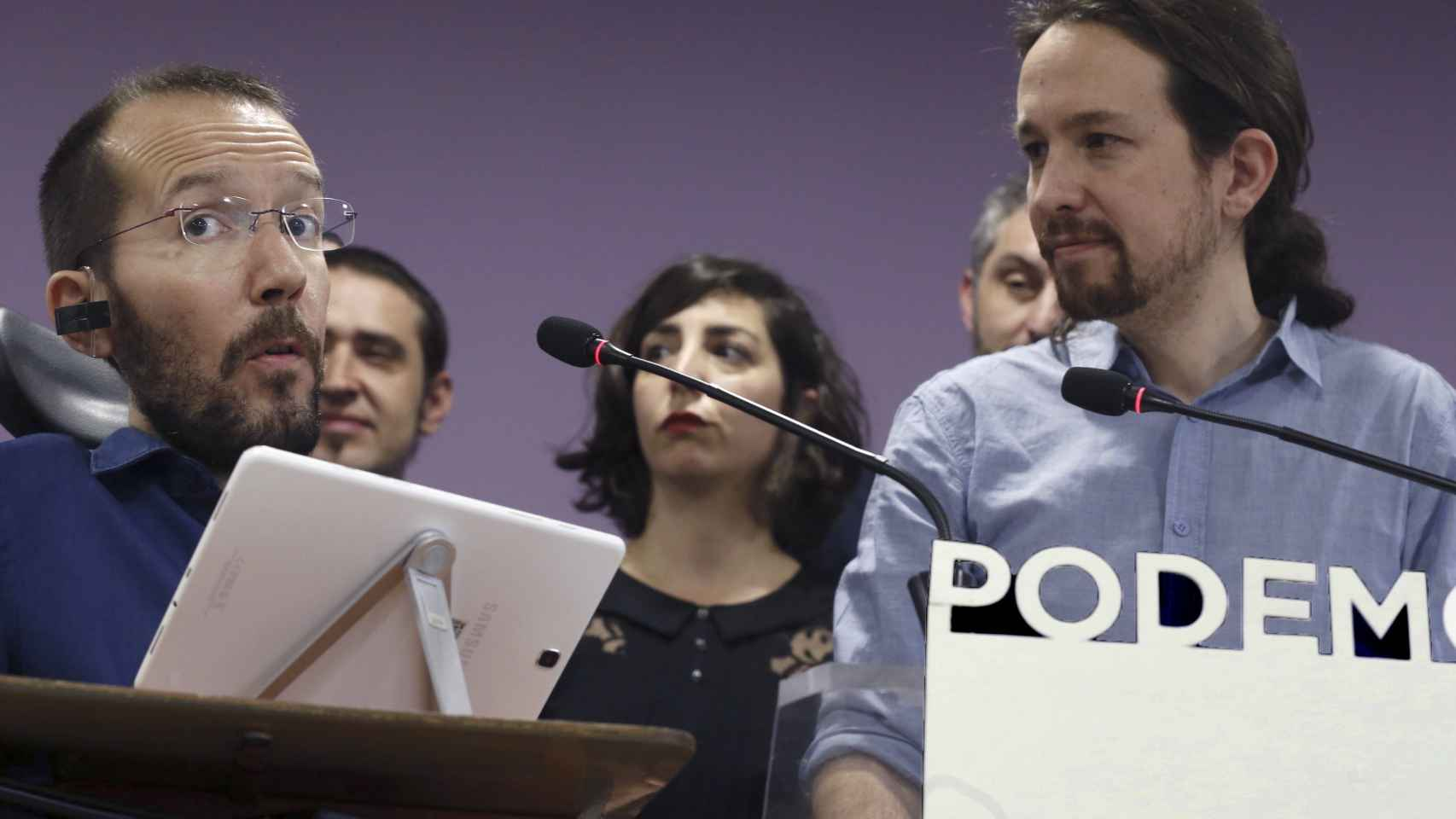 Echenique e Iglesias este viernes en la sede de Podemos.