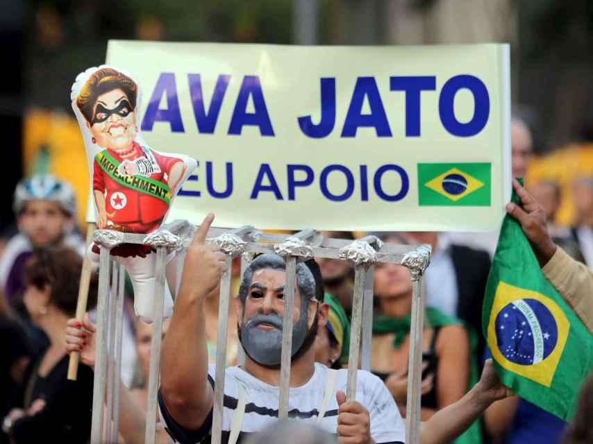 Una manifestación en contra de Rousseff y Lula en Sao Paulo.
