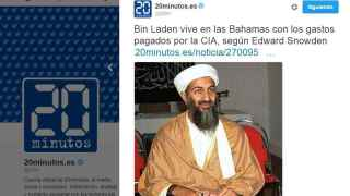 El tuit, posteriormente corregido, que anunciaba que Bin Laden seguía vivo.