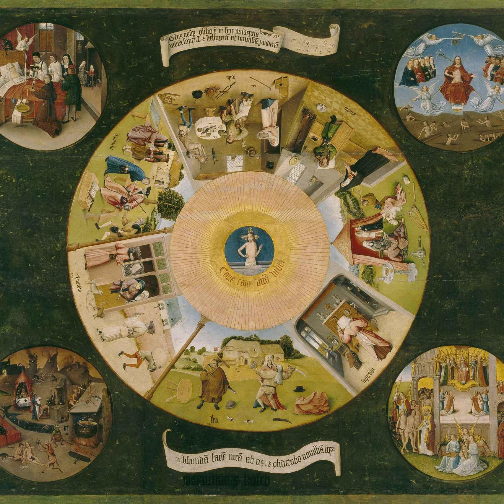 La mesa de los pecados capitales, tradicionamente atribuida a El Bosco