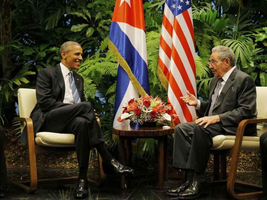 Obama y Castro durante su reunión.