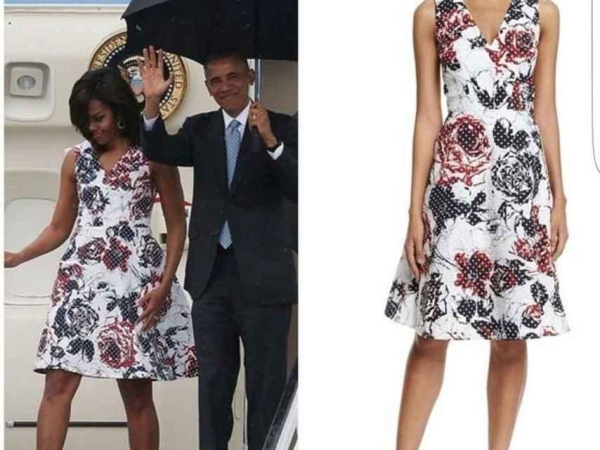 Michelle Obama a su llegada en el Air Force One / Vestido Carolina Herrera