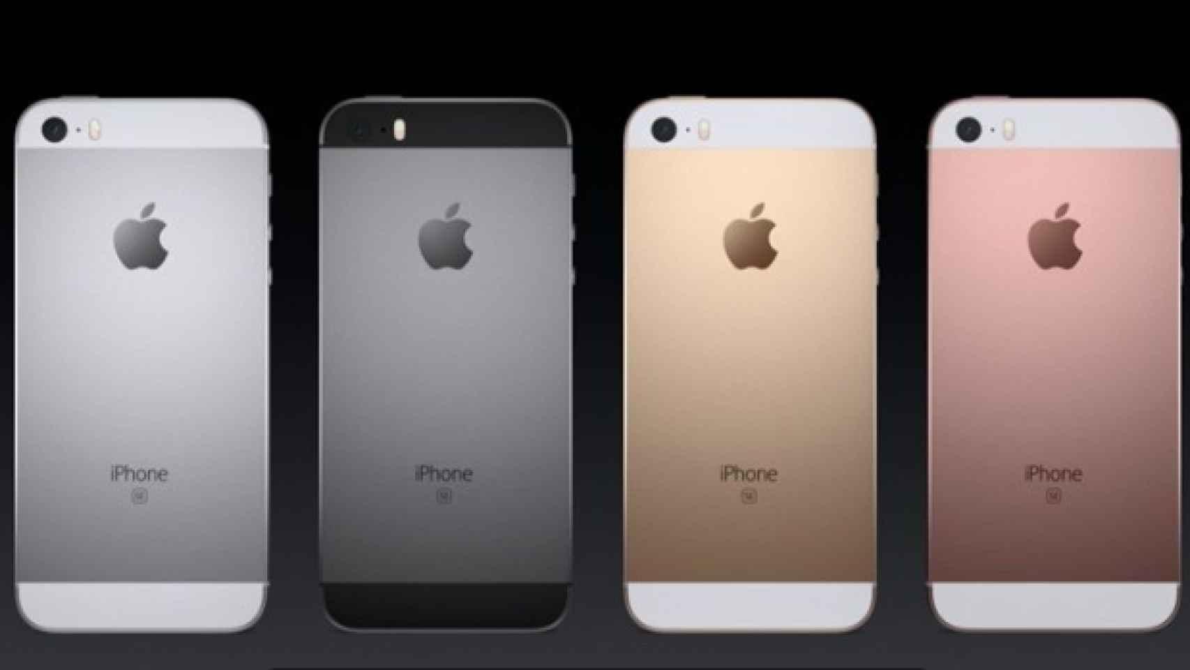 El iPhone SE en sus cuatro colores.