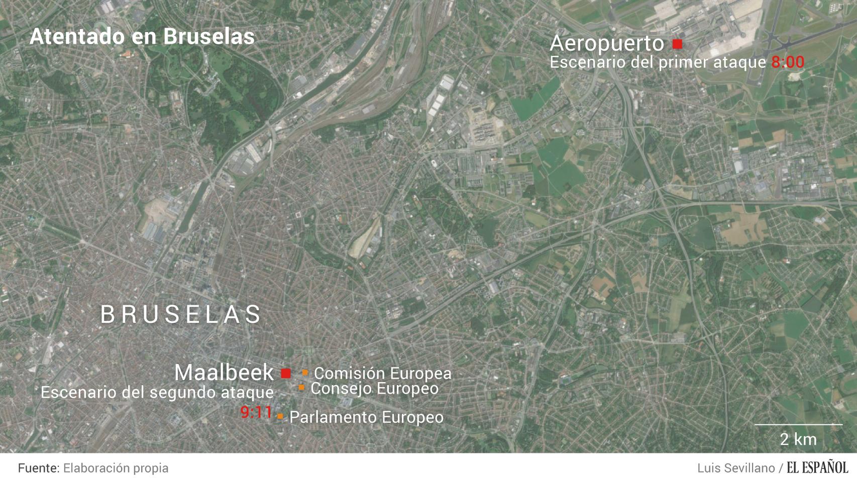 Mapa de las explosiones en Bruselas.