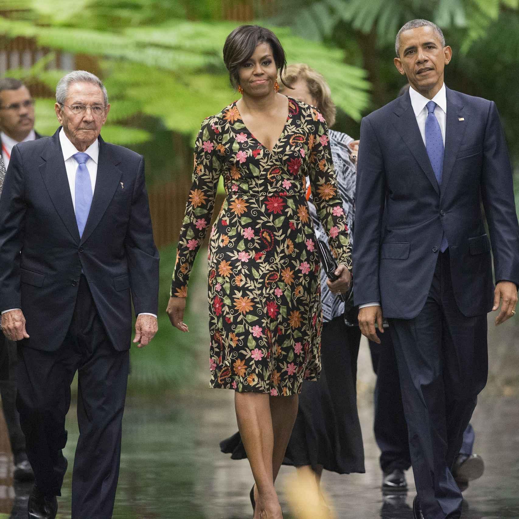 Raúl Castro, Michelle y Barack Obama en el Palacio de la Revolución