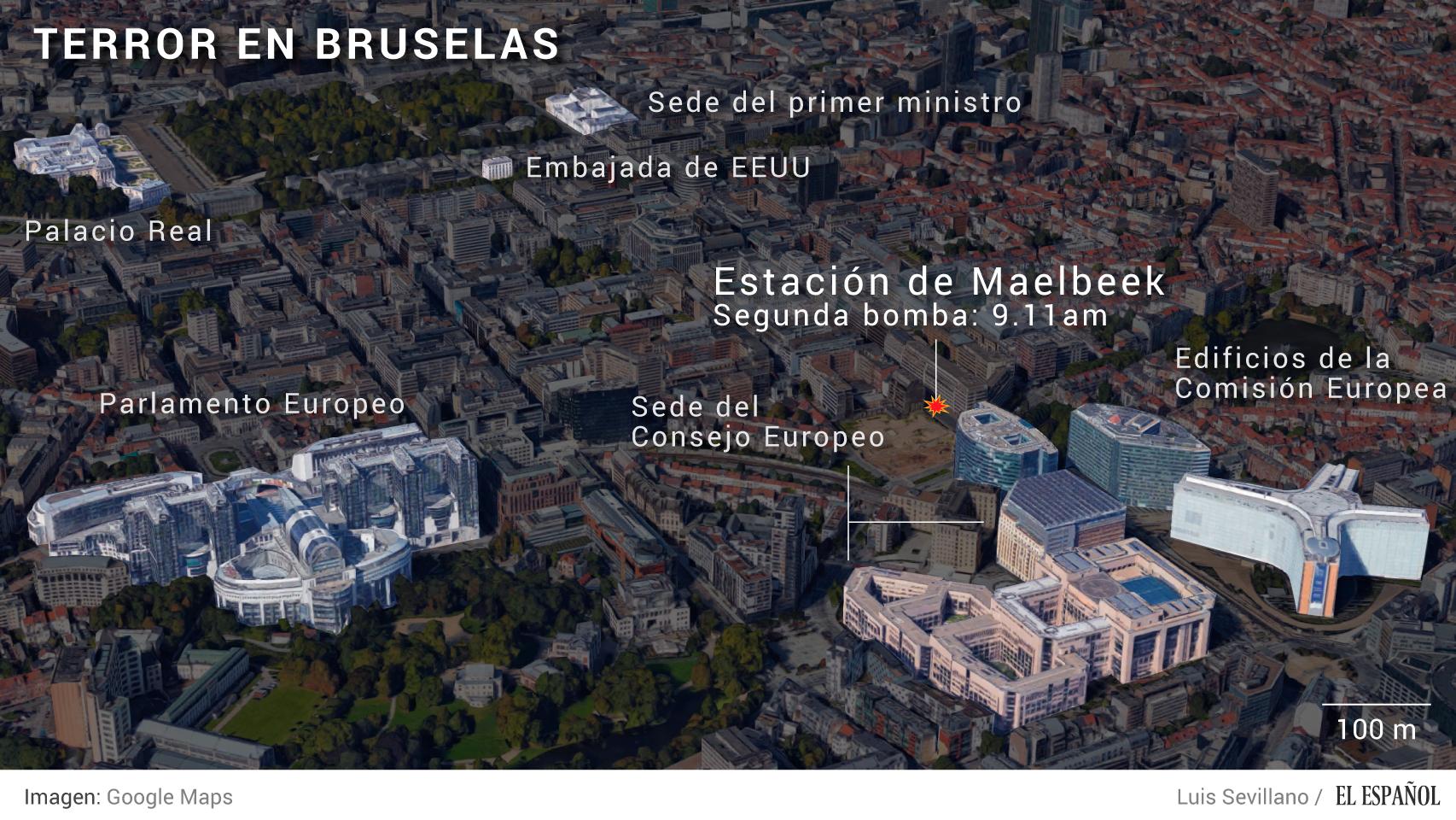 Una de las explosiones ha ocurrido muy cerca de las instituciones europeas.