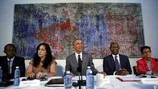 Obama en una reunión con disidentes en La Habana.