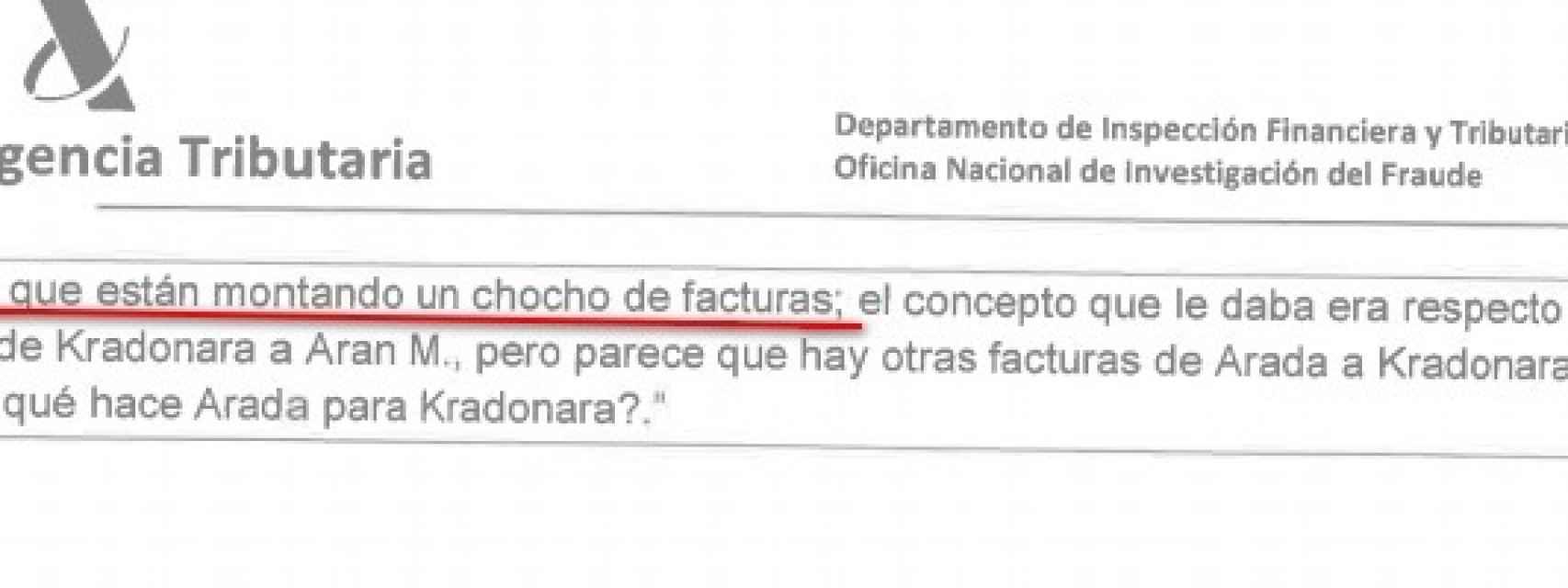 Extracto de otro de los correos sobre las facturas del caso Rato.
