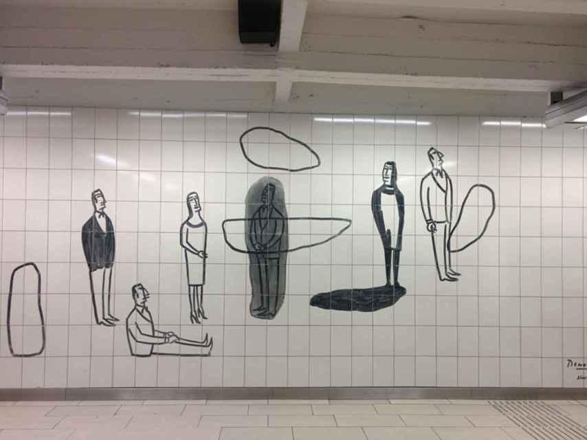 Los azulejos de la estación de Maelbeek. / BEERBIKESANDFRITES