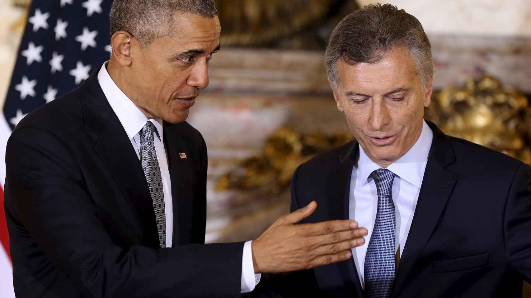 Obama y Macri durante la rueda de prensa en la Casa Rosada