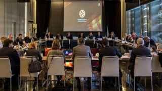 Una reunión reciente de la Euroliga en su sede de Barcelona.