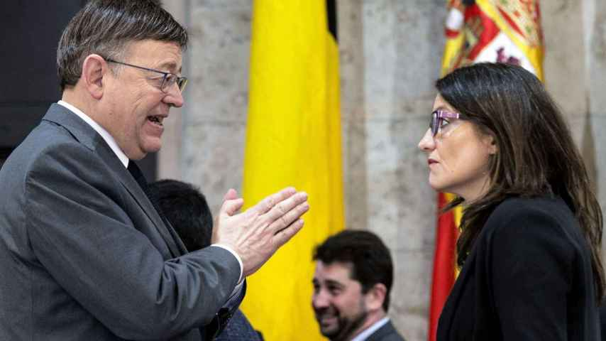 Ximo Puig, president de la Generalitat, con Mónica Oltra, su número dos.
