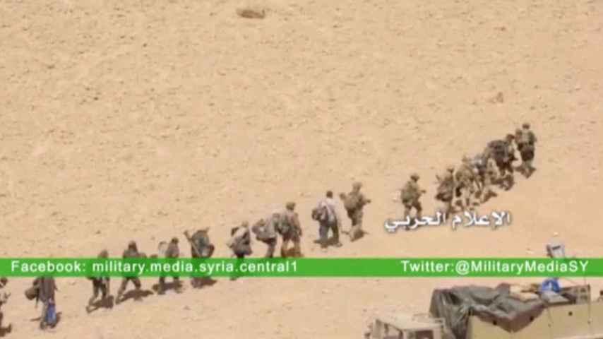 Soldados sirios entrando en Palmira