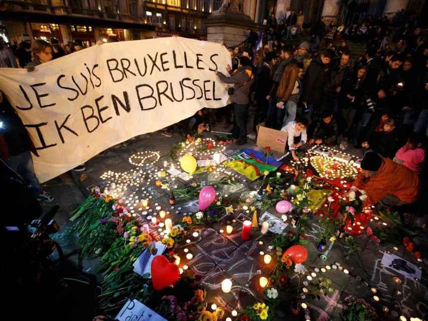 La vigilia en la plaza de la Bolsa de Bruselas