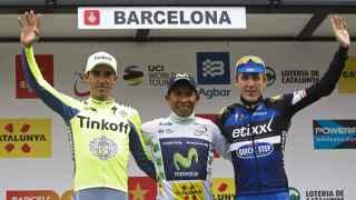 Contador, Quintana y Martin en el podio de la Volta 2016.