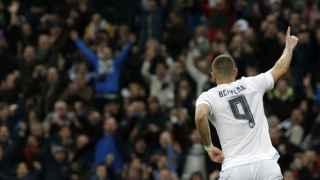 Benzema celebra un gol en la presente temporada