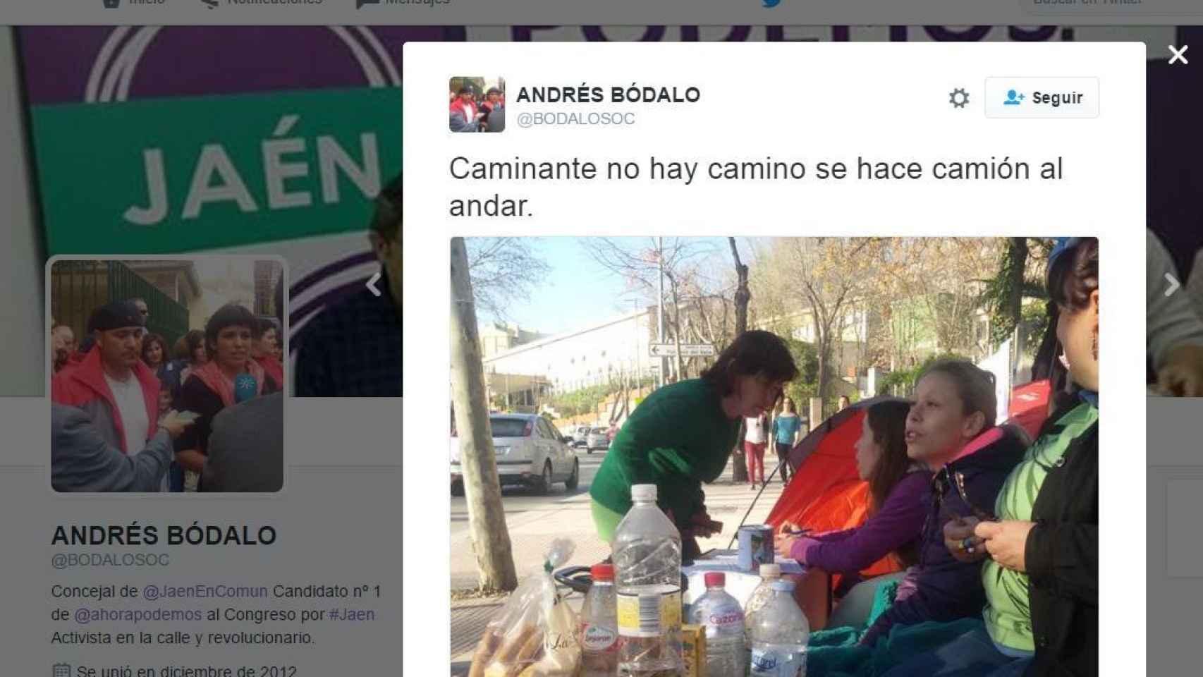Captura de la cuenta de Twitter de Andres Bódalo.