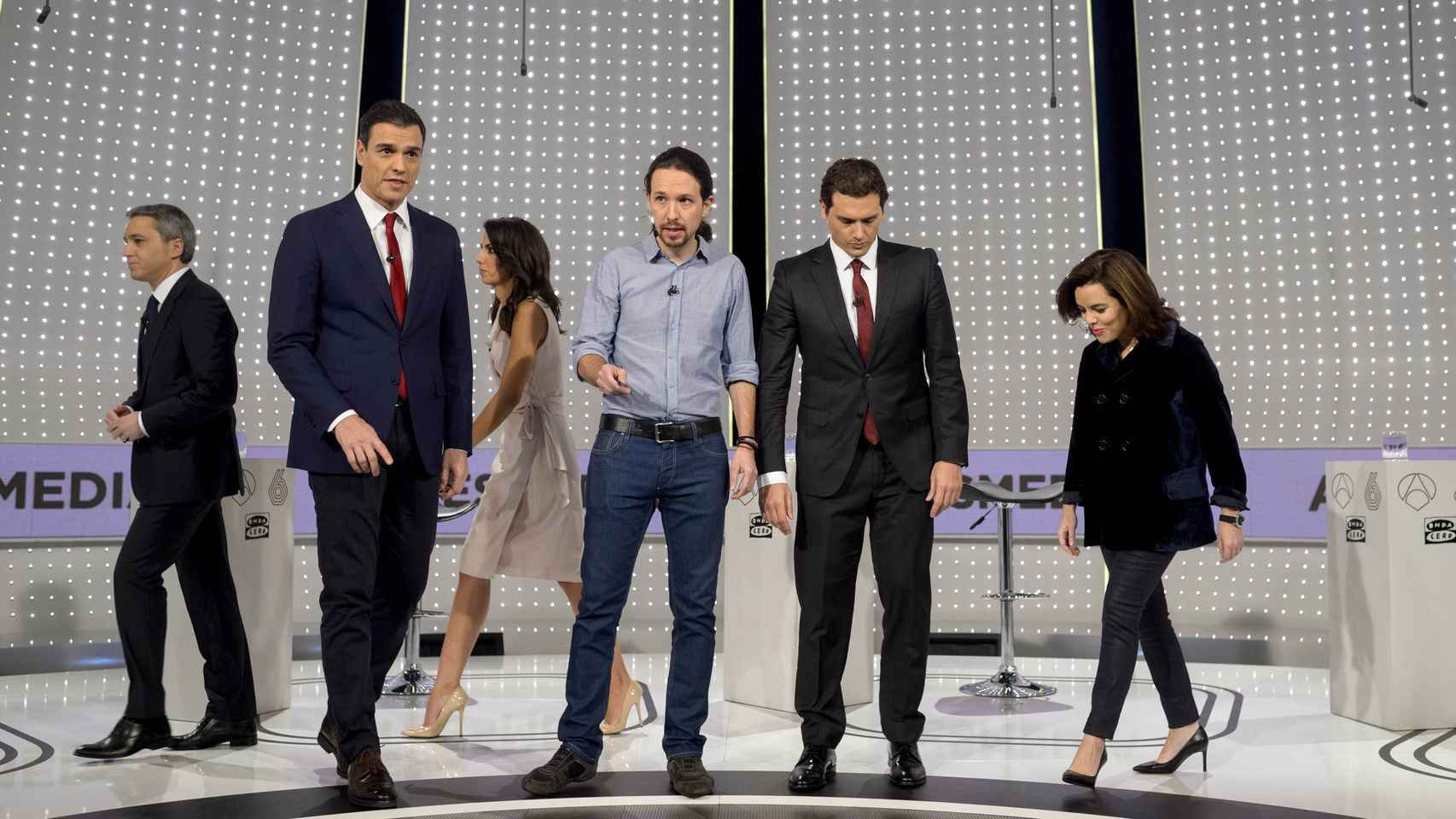 Rivera, Sánchez y Rajoy en uno de los debates electorales