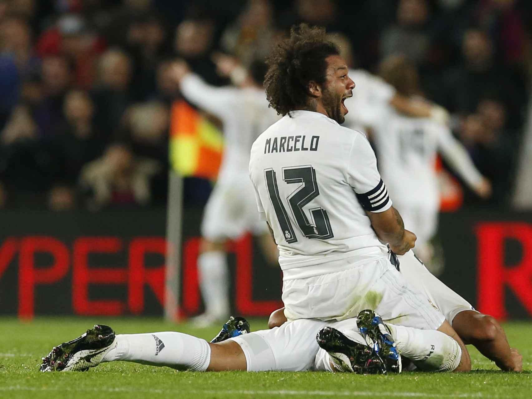 Marcelo celebra el segundo gol del Madrid.