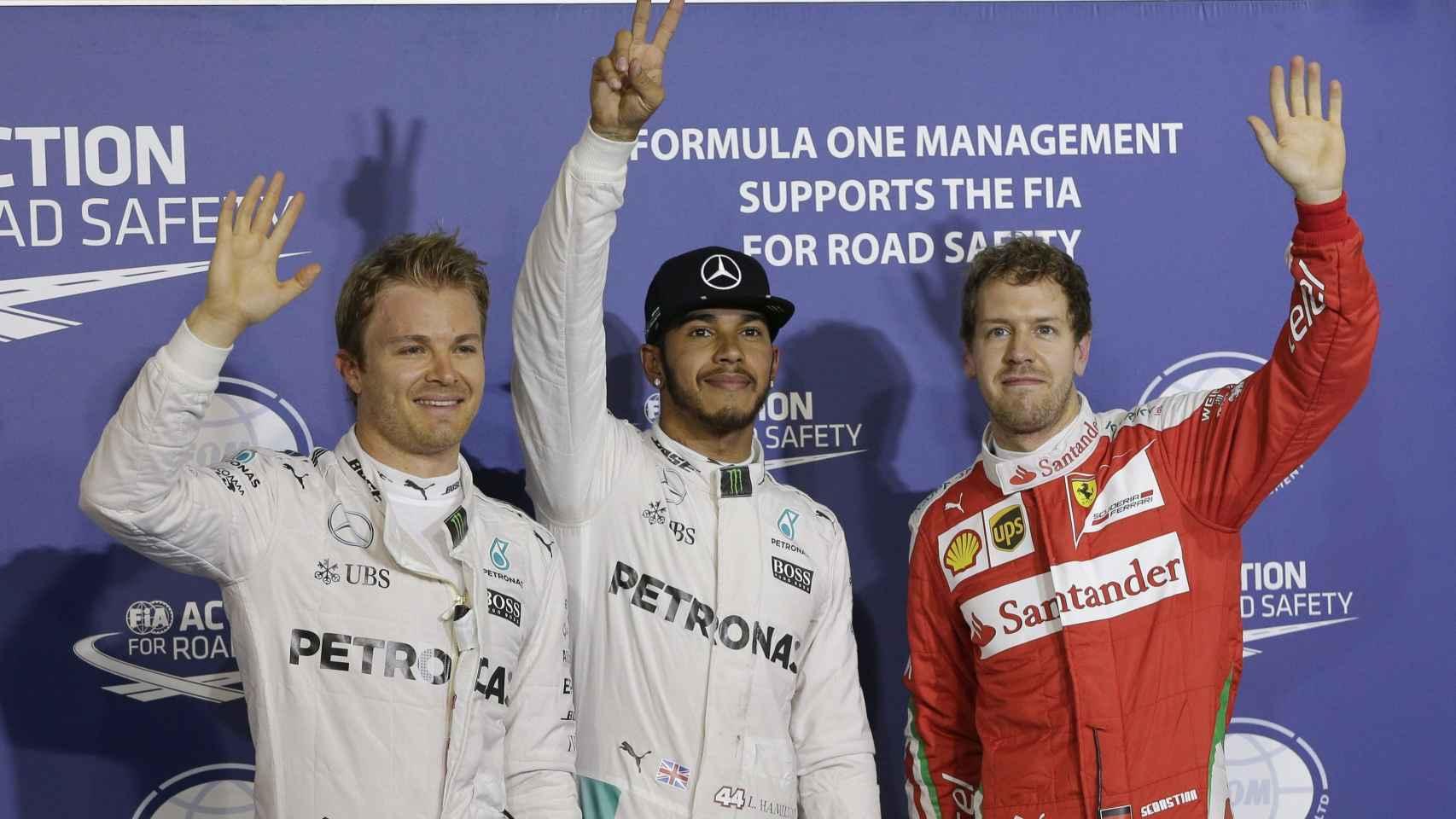 Rosberg, Hamilton y Vettel tras la clasificación en Baréin