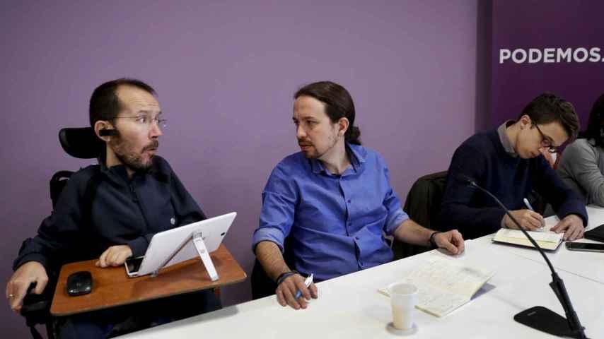 Pablo Echenique, Pablo Iglesias e Íñigo Errejón en el Consejo Ciudadano.