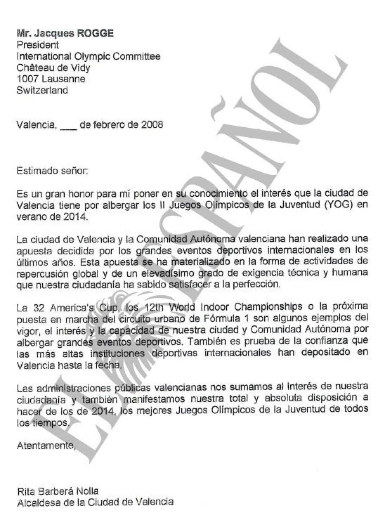 Carta a Jacques Rogge firmada por Rita Barberá.