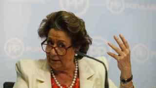 Rita Barberá durante la rueda de prensa en Valencia.