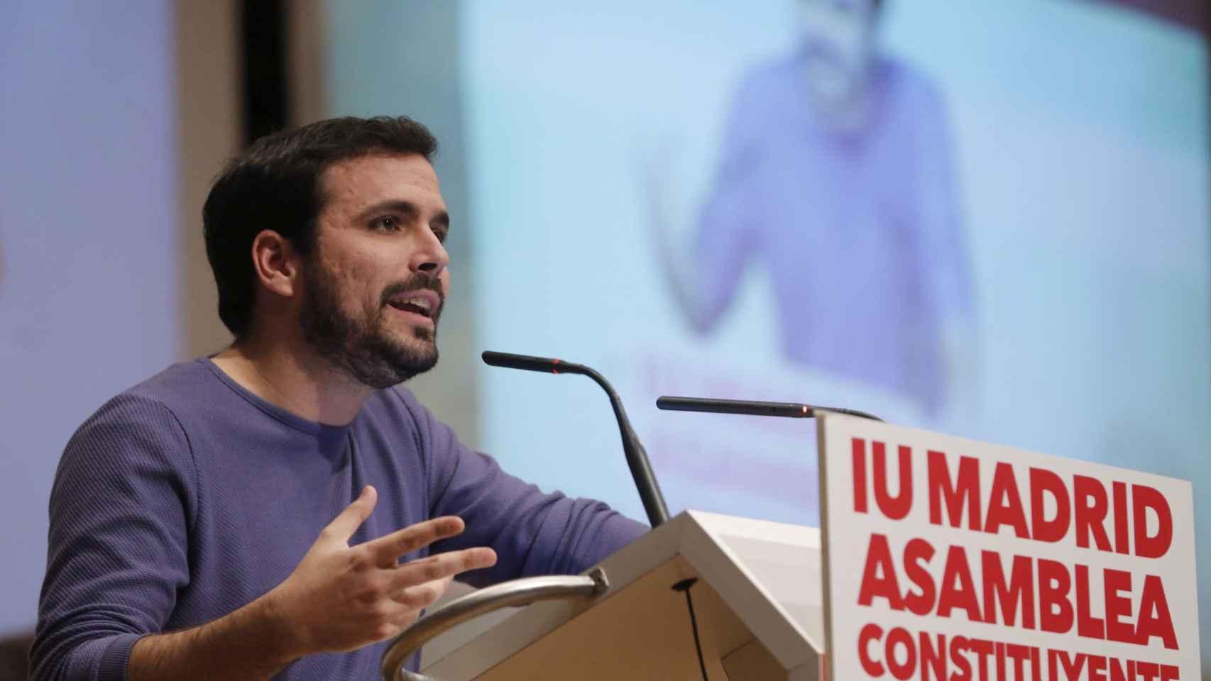 Alberto Garzón en un acto de IU de Madrid.