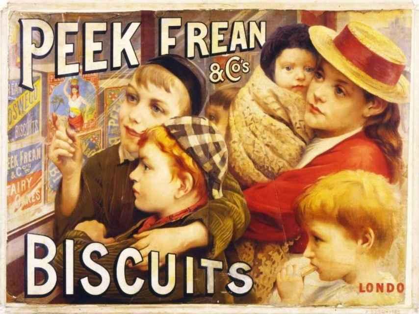 Anuncio de galletas Peek Freans (1891).