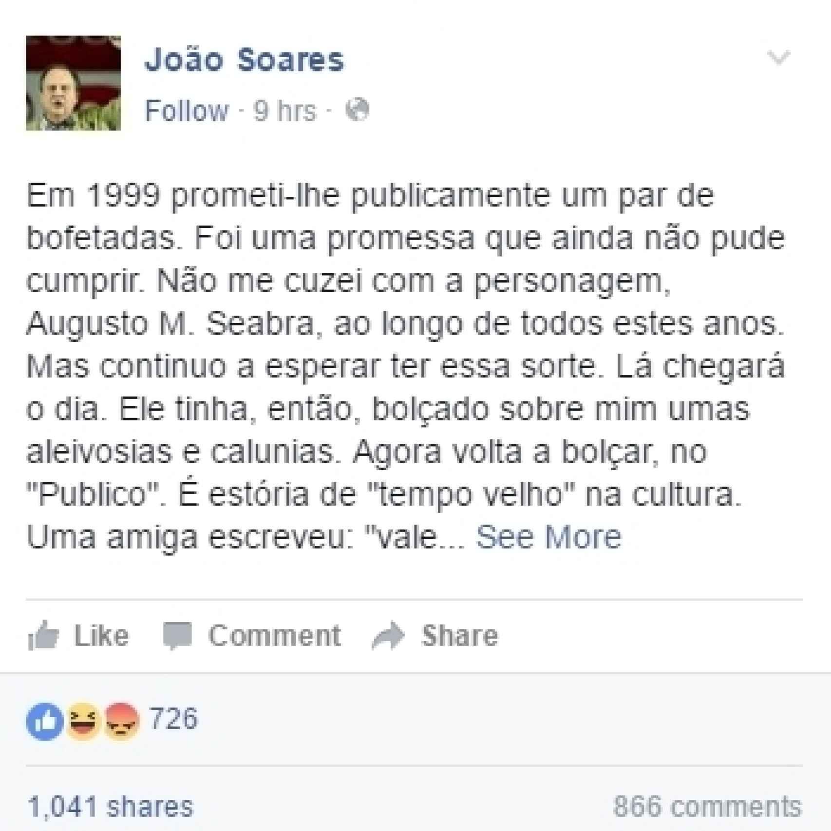 El comentario en Facebook de Soares.