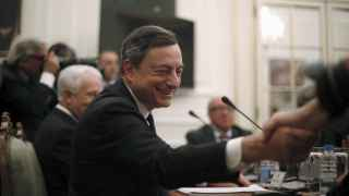 El presidente del BCE durante su visita a Lisboa.