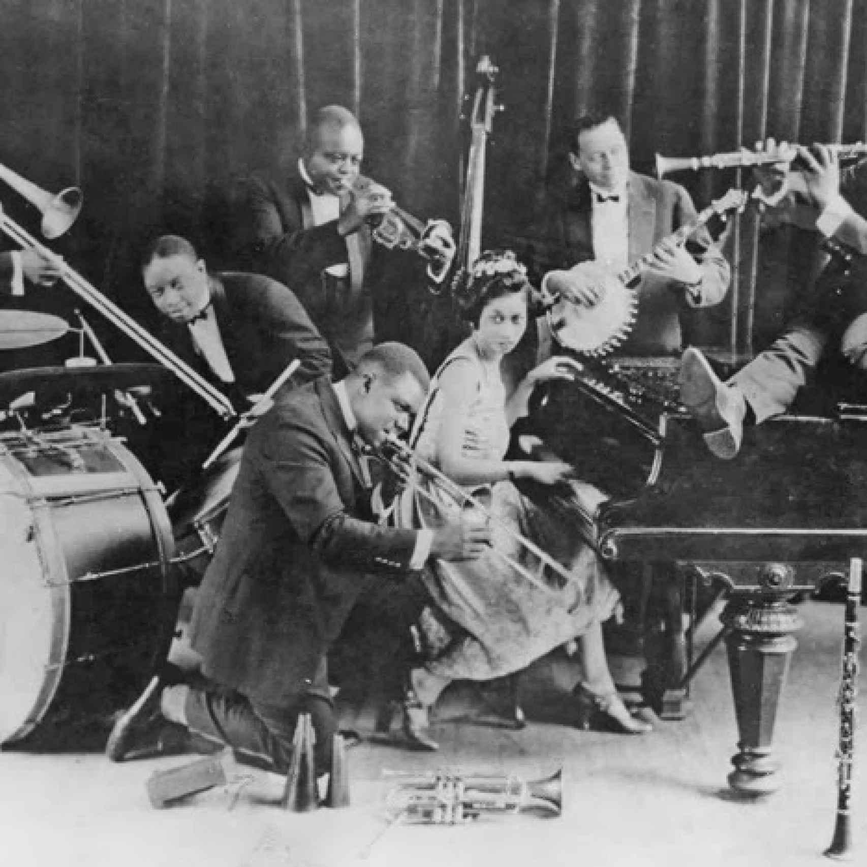 Armstrong y Hardin, en los Hot Seven (1923).