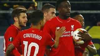 Origi celebra el gol contra el Liverpool.