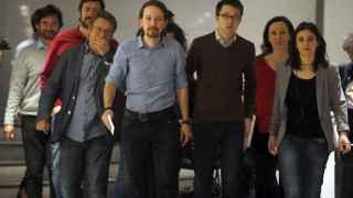 Pablo Iglesias y el resto de dirigentes de Podemos este viernes.