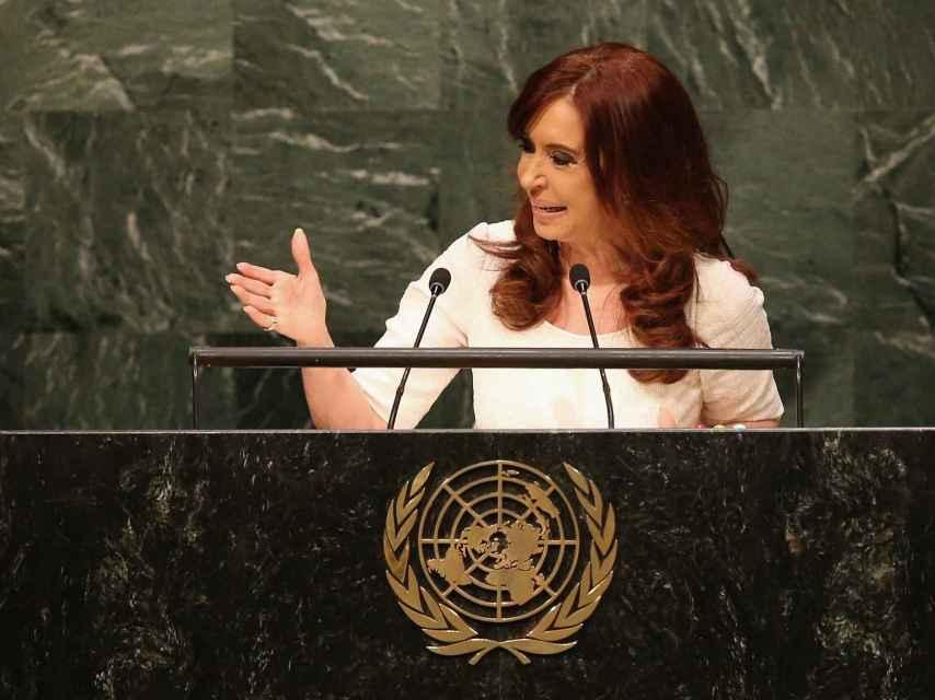 La expresidenta argentina durante un discurso en la sede de la ONU.